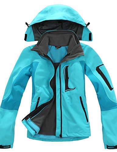 cheap Softshell, Fleece & Hiking Jackets-Women's Hiking 3-in-1 Jackets Hiking Jacket Winter Outdoor Thermal / Warm Waterproof Windproof Breathable Fleece 3-in-1 Jacket Top Red Fuchsia Green Light Sky Blue Skiing Camping / Hiking Hunting S M