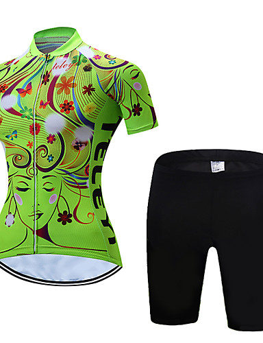 cheap Cycling Jersey & Shorts / Pants Sets-21Grams Women's Short Sleeve Cycling Jersey with Shorts Polyester Yellow Red Blue Stripes Floral Botanical Bike Clothing Suit UV Resistant Breathable 3D Pad Quick Dry Moisture Wicking Sports Stripes