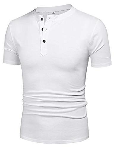 billige Henley skjorter-herre henley skjorter kort ermet høy t skjorte slim fit 2xl t skjorter hvit 2xl