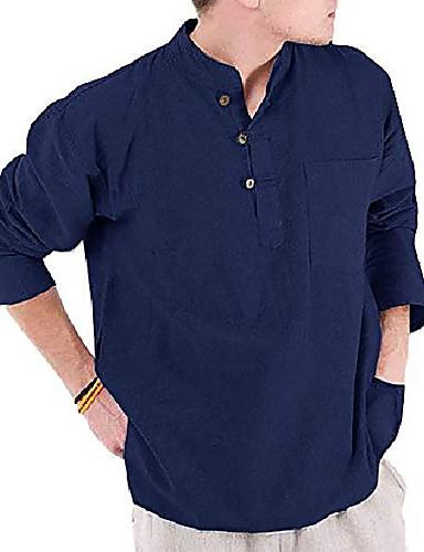 저렴한 헨리 셔츠-남성 만다린 칼라 헨리 셔츠 긴 소매 캐주얼 루즈핏 여름 비치 솔리드 무지 코튼 셔츠 네이비