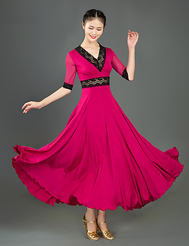 cheap Ballroom Dancewear-Ballroom Dance Dress Lace Split Joint Women's Training Performance Half Sleeve Milk Fiber