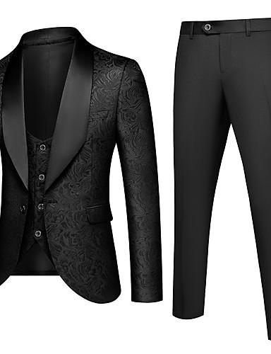 cheap Suit-Men's Shawl Lapel Suits Solid Colored White / Black / Blue US32 / UK32 / EU40 / US34 / UK34 / EU42 / US36 / UK36 / EU44