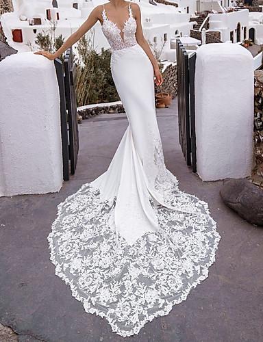 cheap Wedding Dresses-Mermaid / Trumpet Wedding Dresses V Neck Chapel Train Lace Stretch Satin Sleeveless Beach Sexy with 2020