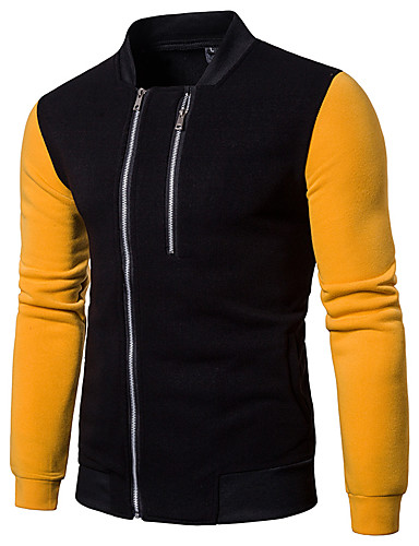cheap Men's Outerwear-Men's Stand Collar Jacket Regular Solid Colored Daily Basic Long Sleeve Red / Yellow / Gray US32 / UK32 / EU40 / US34 / UK34 / EU42 / US36 / UK36 / EU44