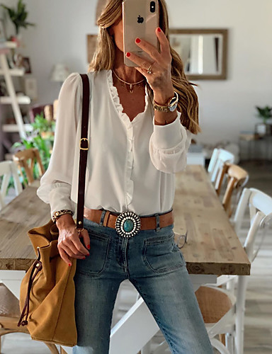 cheap Exclusives-Women's Blouse Shirt Solid Colored Long Sleeve Ruffle V Neck Tops Casual Basic Top White