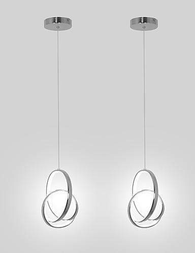 billige Anheng Lys-2 stk mini pendellampe led hengende lampe aluminium krom for spisestue kichten belysning
