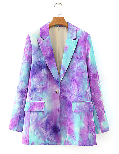 cheap Women's Blazers-Women's Blazer Tie Dye Shawl Collar Ticket Pocket Purple / Khaki S / M / L