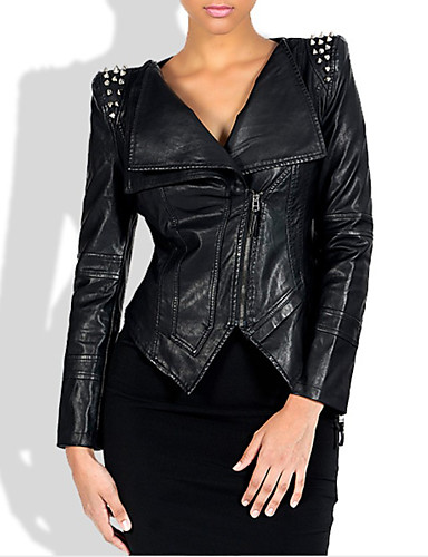 cheap Women's Leather & Faux Leather Jackets-Women's Zipper Faux Leather Jacket Short Solid Colored Daily Punk & Gothic Black M L XL