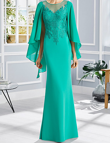 cheap Mother of the Bride Dresses-Sheath / Column Mother of the Bride Dress Elegant Jewel Neck Floor Length Chiffon Lace Short Sleeve with Appliques 2020