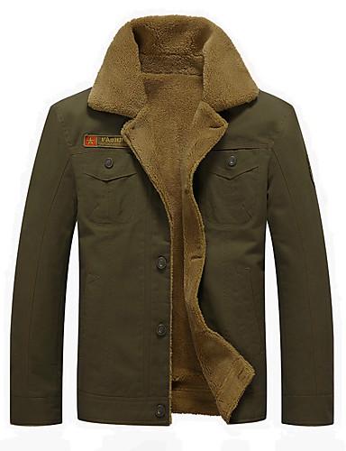cheap Men's Outerwear-Men's Stand Collar Jacket Regular Solid Colored Daily Basic Long Sleeve Cotton Black / Khaki / Green US32 / UK32 / EU40 / US34 / UK34 / EU42 / US36 / UK36 / EU44