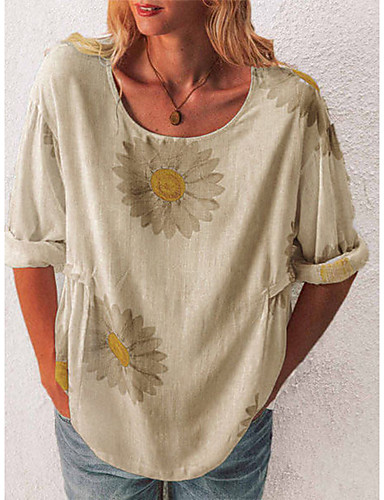 cheap Women's Blouses & Shirts-Women's Going out Shirt Sunflower Print Round Neck Tops Loose Sexy Tropical Basic Top White Black Blue