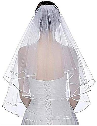 billige Bryllupsslør-to lag kort brude slør med kam bånd kant hvid elfenben brud bryllup tilbehør& # 40; elfenben& # 41;