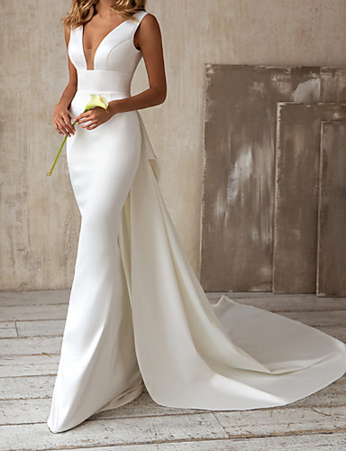 cheap Wedding Dresses-A-Line Wedding Dresses V Neck Court Train Satin Sleeveless Simple with Bow(s) 2020