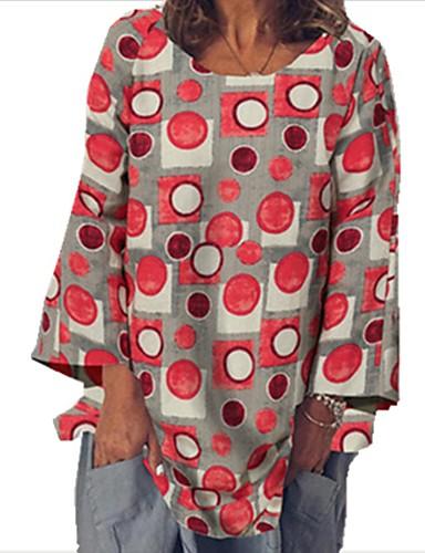 billige Topper til damer-Dame Bluse Skjorte Polkadotter Langermet Trykt mønster Rund hals Topper Bomull Grunnleggende Grunnleggende topp Rød Kakifarget Grønn