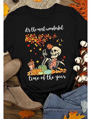 billige Topper til damer-Dame Halloween T-skjorte Hodeskaller Bokstaver Trykt mønster Rund hals Topper 100 % bomull Grunnleggende Halloween Grunnleggende topp Svart