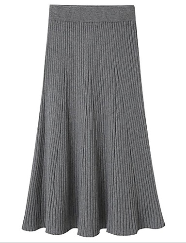 cheap Women's Skirts-Women's Casual / Daily Basic Midi Skirts Solid Colored