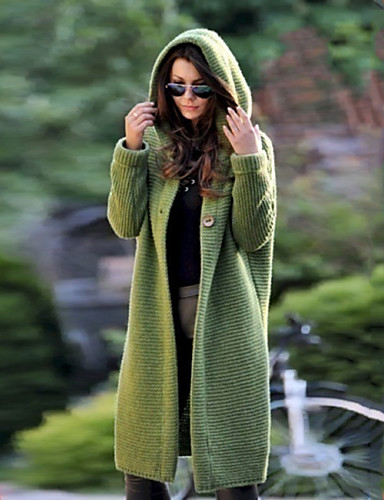 cheap 2020 F/W-Women's Basic Knitted Solid Color Plain Cardigan Acrylic Fibers Long Sleeve Loose Sweater Cardigans Hooded Fall Winter Blue Yellow Green