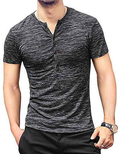 cheap Henley Shirts-Men's T-shirt Solid Color Short Sleeve Tops White Black Blue / Summer