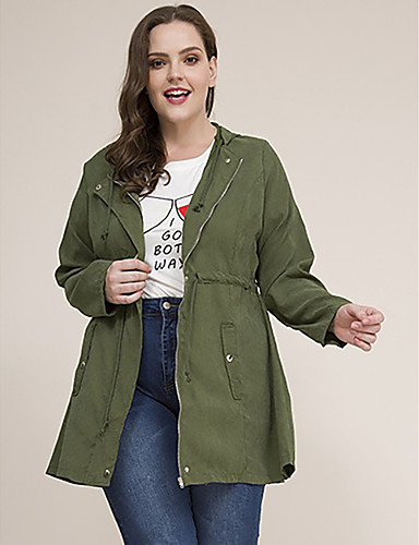 cheap Plus Size Collection-Women's Zipper Trench Coat Regular Solid Colored Daily Basic Plus Size Green XL XXL 3XL