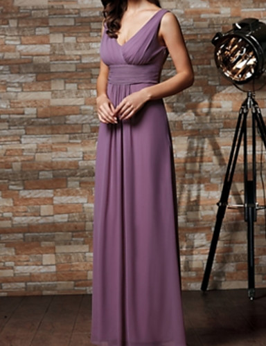 cheap Bridesmaid Dresses-A-Line V Neck Floor Length Chiffon Bridesmaid Dress with Pleats