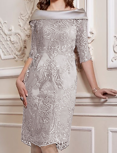 cheap Mother of the Bride Dresses-Sheath / Column Mother of the Bride Dress Elegant Off Shoulder Knee Length Lace Satin Half Sleeve with Appliques 2020