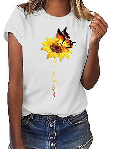 cheap Women's T-shirts-Women's T-shirt Floral Butterfly Flower Print Round Neck Tops 100% Cotton Basic Basic Top White / Sunflower