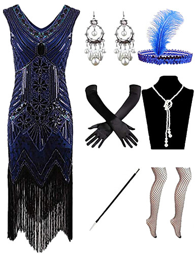 cheap Historical & Vintage Costumes-Charleston Vintage 1920s The Great Gatsby Flapper Dress Costume Accessory Sets Women's Feather Costume Red / black / Golden+Black / White Vintage Cosplay / Gloves / Headwear / 1 Necklace / Earrings