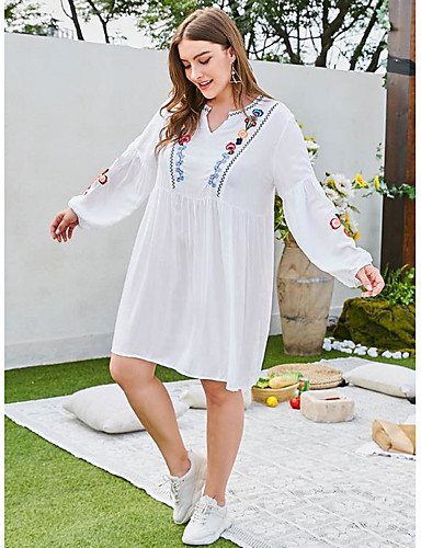 cheap Plus Size Dresses-Women's Sheath Dress Knee Length Dress - Long Sleeve Floral Embroidered Summer Casual Daily 2020 White L XL XXL 3XL 4XL