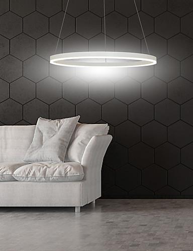 billige Anheng Lys-1-lys 60 cm LED-pendellampe aluminium sirkelmalte overflater kan dimmes 30W for spisestue soverom med akryl nyanse i svart hvitt gull kaffe