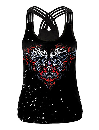 זול חולצות לנשים-בגדי ריקוד נשים Halloween עליונית טנק קשירה וצביעה צווארון U צמרות בסיסי חג ליל כל הקדושים בסיס עליון שחור