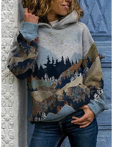 cheap Sweaters & Cardigans-Women's Sports Pullover Hoodie Sweatshirt Scenery Basic Hoodies Sweatshirts  Blue Gray
