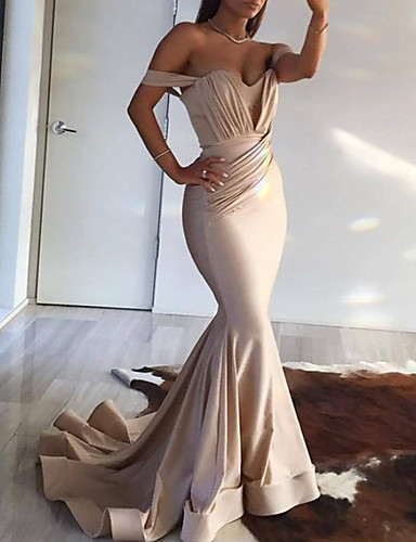 cheap Special Occasion Dresses-Mermaid / Trumpet Minimalist Sexy Wedding Guest Formal Evening Dress Off Shoulder Sleeveless Court Train Spandex with Pleats Ruched 2020