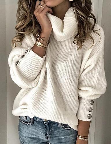 Недорогие 2020 F/W-Жен. Сплошной цвет Полотняное плетение Пуловер Длинный рукав Свитер кардиганы Хомут Осень Зима Белый Черный Синий
