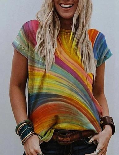 billige Topper til damer-Dame T-skjorte Fargeblokk Rund hals Topper Grunnleggende Grunnleggende topp Gul Oransje Kamel