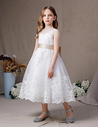 billige Junior brudepikekjoler-A-linje Besmykket Gulvlang Blonder / Tyll Junior brudepikekjole med Appliqué