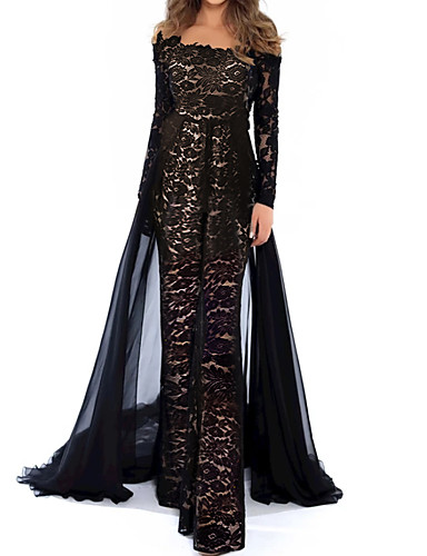 cheap Special Occasion Dresses-Jumpsuits Beautiful Back Floral Engagement Formal Evening Dress Illusion Neck Long Sleeve Floor Length Lace Tulle with Appliques 2020