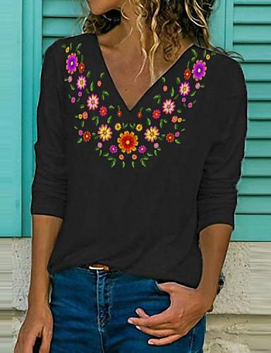billige Topper til damer-Dame T-skjorte Blomstret Langermet Trykt mønster V-hals Topper Bomull Grunnleggende Grunnleggende topp Hvit Svart Blå
