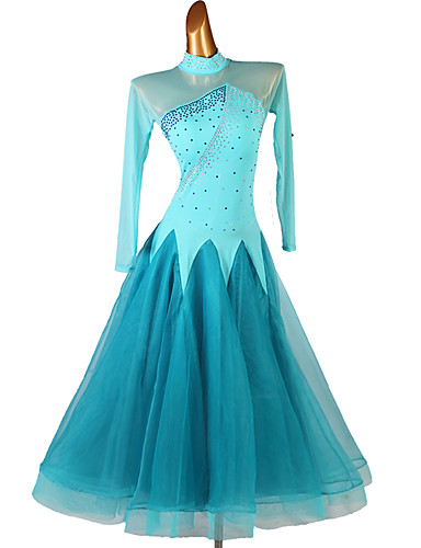 cheap Ballroom Dancewear-Ballroom Dance Dress Split Joint Crystals / Rhinestones Women's Performance Long Sleeve Spandex Organza