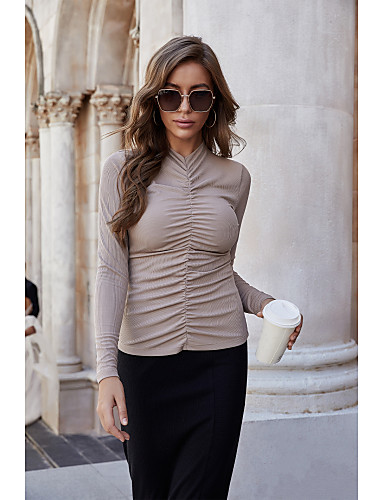 preiswerte Für Junge Frauen-Damen Bluse Hemd Solide Langarm Gefaltet Stehkragen Oberteile Schlank Grundlegend Elegant Basic Top Schwarz Beige