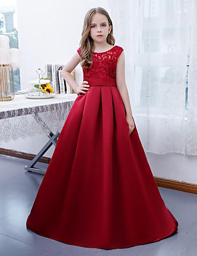 billige Junior brudepikekjoler-A-linje Besmykket Gulvlang Blonder / Sateng Junior brudepikekjole med Plissert