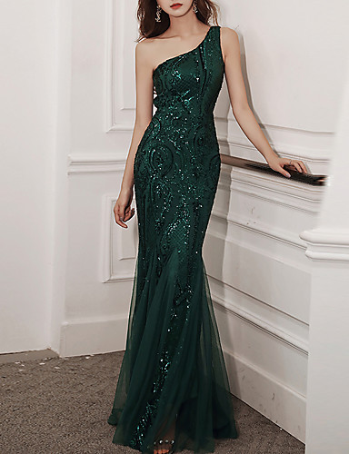 cheap Special Occasion Dresses-Mermaid / Trumpet Glittering Sexy Wedding Guest Formal Evening Dress One Shoulder Sleeveless Floor Length Tulle Sequined with Sequin 2020