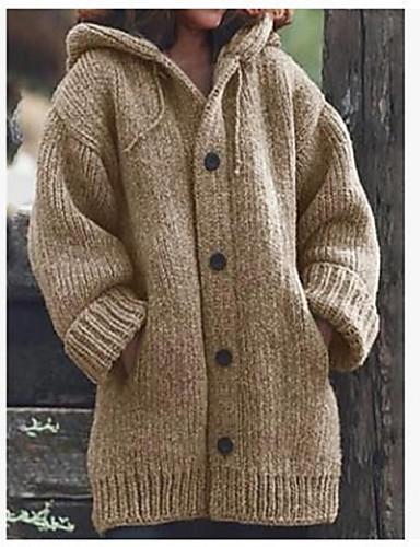 povoljno Pretprodaja-Žene Otvor s prednje strane Jesen zima Kaput Dug Jednobojni Dnevno Osnovni Žutomrk M L XL