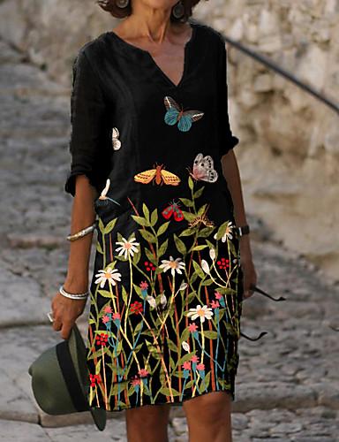 cheap Print Dresses-Women's Shift Dress Knee Length Dress - Half Sleeve Floral Animal Print Summer V Neck Casual Daily Loose 2020 Black M L XL XXL XXXL