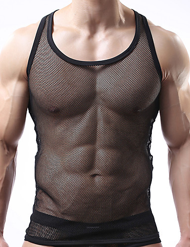 cheap Men's Exotic Underwear-Men's Normal Sexy Round Neck Undershirt Solid Colored Mesh