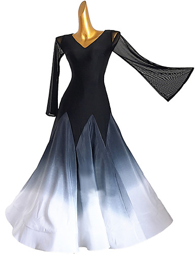 cheap Ballroom Dancewear-Ballroom Dance Dress Split Joint Women's Training Long Sleeve High Chinlon Mesh Chiffon