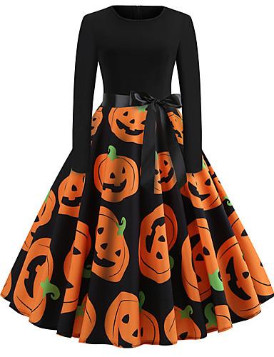 cheap Print Dresses-Halloween Women's A-Line Dress Knee Length Dress - Long Sleeve Pumpkin Bat Skulls Print Bow Patchwork Print Fall Vintage Slim 2020 Blue Purple Orange S M L XL XXL