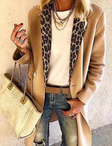 povoljno Pretprodaja-Žene Kragna košulje Jesen zima Kaput Dug Jednobojni Dnevno Osnovni Žutomrk M L XL