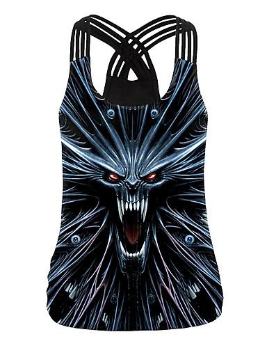 זול חולצות לנשים-בגדי ריקוד נשים Halloween עליונית טנק גוגולות צווארון U צמרות חג ליל כל הקדושים בסיס עליון שחור