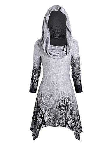 cheap Women's T-shirts-Women's Halloween Tunic Graphic Prints Long Sleeve Print Asymmetric Off Shoulder Tops Halloween Basic Top White Black Purple