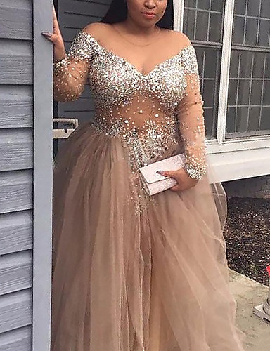 cheap Special Occasion Dresses-A-Line Glittering Sexy Engagement Formal Evening Dress V Neck Long Sleeve Floor Length Tulle with Sequin 2020